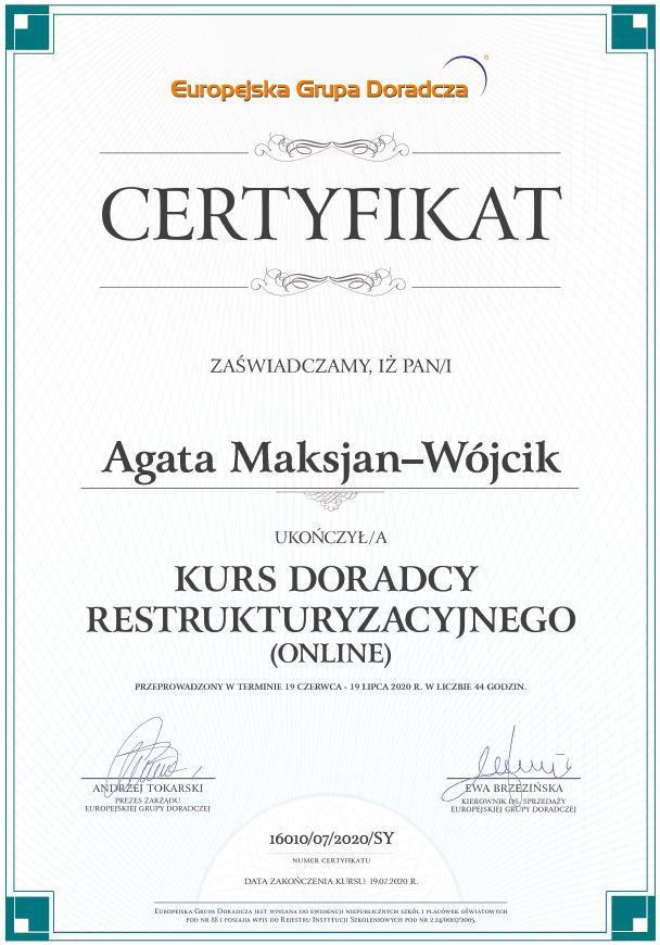 Agata Maksjan-Wójcik - certyfikat ukończenia kursu doradcy restrukturyzacyjnego