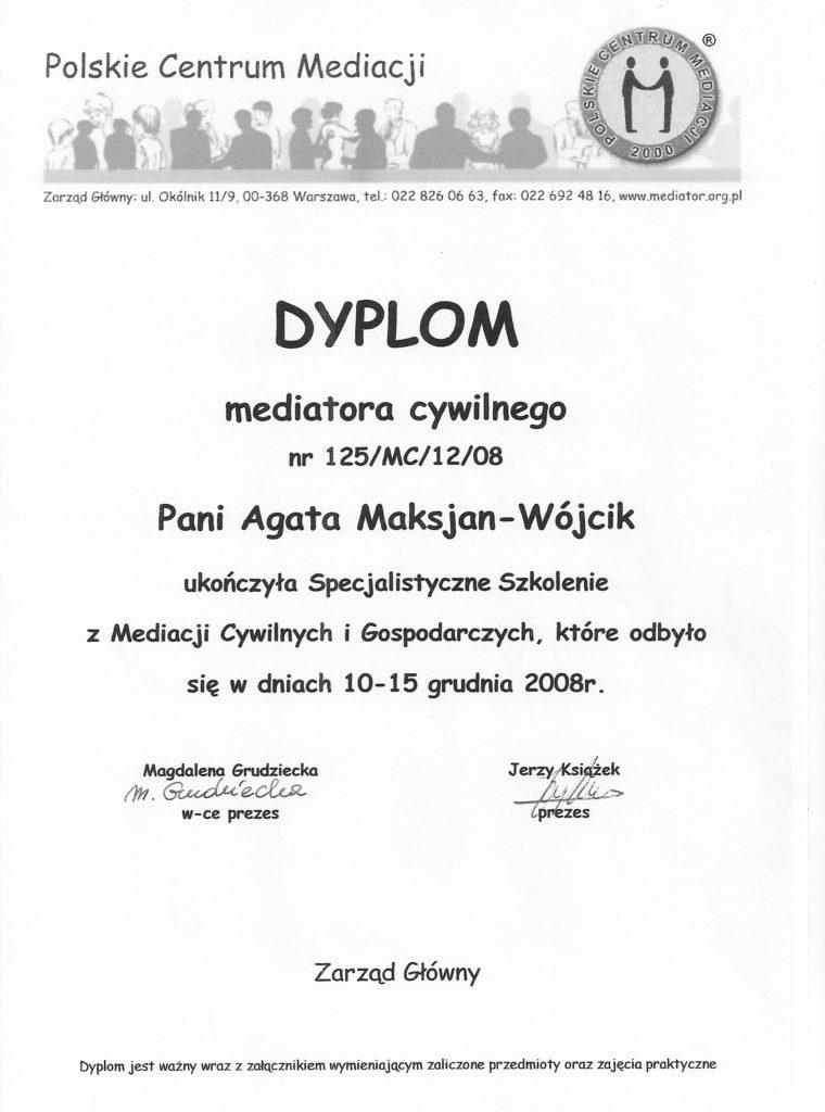 Agata Maksjan-Wójcik Dyplom Mediatora Cywilnego
