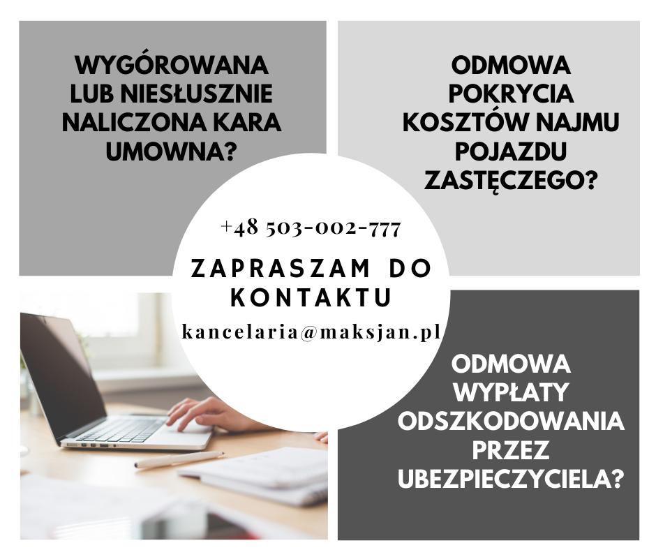 Kancelaria Radcy Prawnego Agata Maksjan-Wójcik - kompleksowa pomoc prawna dotycząca najmu pojazdu, carsharing, pojazdu zastępczego.